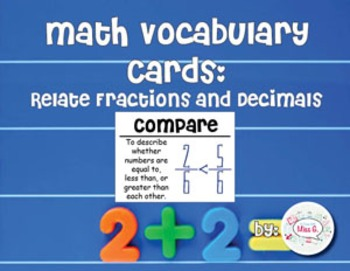 4th Grade Math Vocabulary Cards: Relate Fractions and Decimals