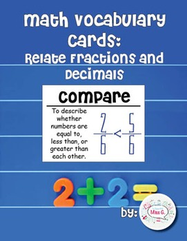 4th Grade Math Vocabulary Cards: Relate Fractions and Deci