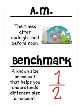 4th Grade Math Vocabulary Cards: Relative Sizes of Measurement Units (Large)