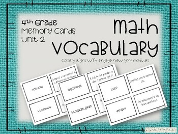 4th Grade Math Vocabulary Memory Cards Unit 2