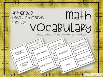 4th Grade Math Vocabulary Memory Cards Unit 3