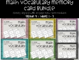 4th Grade Math Vocabulary Memory Cards Bundle Units 1 - 7