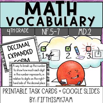 4th Grade Math Vocabulary Memory Cards Unit 6