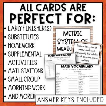 4th Grade Math Vocabulary Memory Cards Unit 7