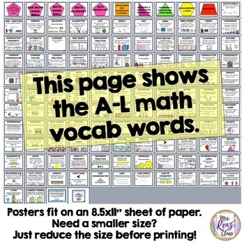 Math Vocabulary Word Wall Fourth Grade 522 pgs 4th grade (Math Word Wall)