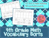 4th Grade Math Vocabulary Sort