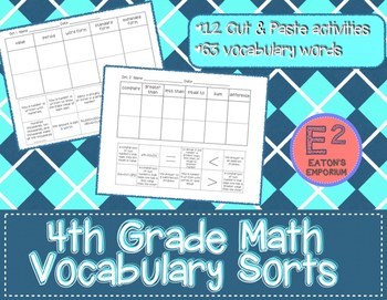 4th Grade Math Vocabulary Sort