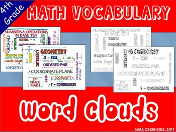 4th Grade Math Vocabulary - Word Cloud Posters
