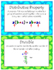 4th Grade Math Vocabulary Word Wall Display Cards