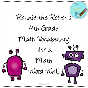 4th Grade Math Vocabulary for a Word Wall