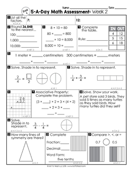 4th Grade Math Weekly Assessments Math Quizzes