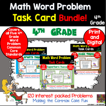 4th Grade Math Word Problem Task Card Bundle