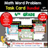 4th Grade Math Word Problem Task Card Bundle