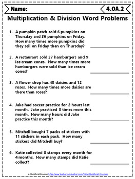 Grade Math Word Problem Bundle: 4th Grade Math Review, Word ...