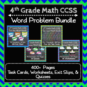 4th Grade Math Word Problem Bundle: 4th Grade Math Review, Word Problems Bundle