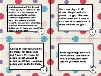 4th Grade Math Word Problem Task Cards