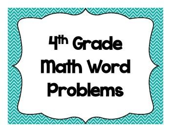 4th Grade Math Word Problems-Common Core Alligned