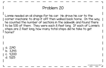 4th Grade Math Word Problems Set 1