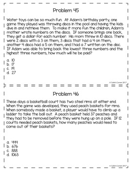 4th Grade Math Word Problems Sets 1-5