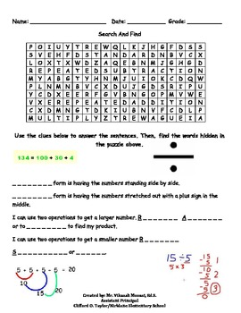 4th Grade Math Word Search