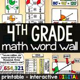 4th Grade Math Word Wall - print and digital
