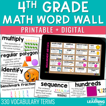 4th Grade Math Word Wall - CCSS