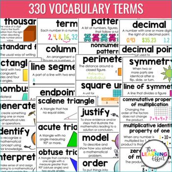 Math Vocabulary Word Wall | 4th Grade