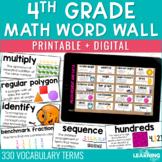 4th Grade Math Word Wall Printable & Digital Distance Learning