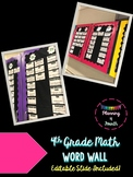 4th Grade Math Word Wall-EDITABLE!
