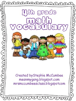 4th Grade Math Word Wall Vocabulary