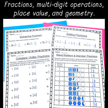 4th Grade Math Worksheet BUNDLE! ~ Fractions, Place Value, & 4 Operations ~ CCSS