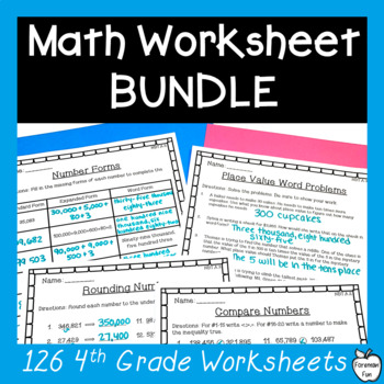 4th Grade Math Worksheets BUNDLE! ~ Fractions, Place Value, & Operations ~ CCSS