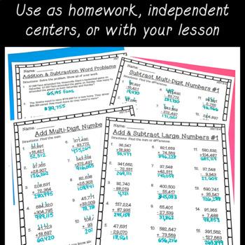 4th grade math worksheets bundle fractions place value. Black Bedroom Furniture Sets. Home Design Ideas