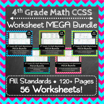 4th Grade Math Worksheets Mega Bundle Common Core By Educational