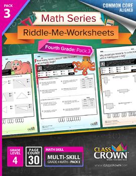 4th Grade Math Worksheets – Fourth Grade Math Pack 3 - Math Riddles - CCSS