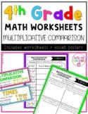 4th Grade Math Worksheets - Multiplicative Comparison