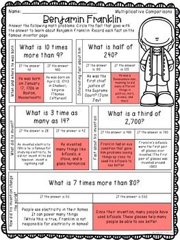 4th Grade Math Worksheets with Inventors