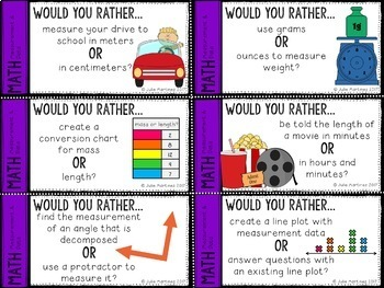 4th Grade Math Would You Rather Bundle