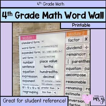 4th Grade Math YEARLONG Word Wall