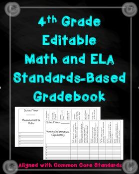 4th Grade Math and ELA standards Gradebook