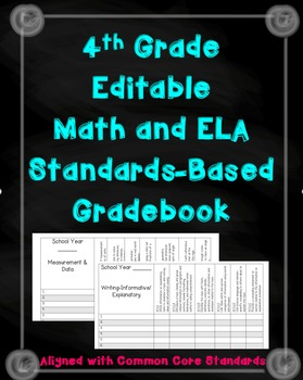 4th Grade Math and ELA standards Gradebook