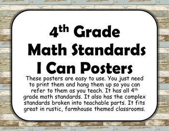 4th Grade Math and Language Standard Posters