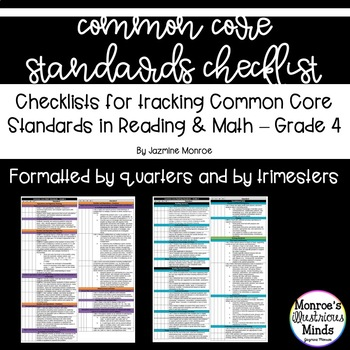 4th Grade Math and Reading Common Core Standards Checklist - Trimester Bundle
