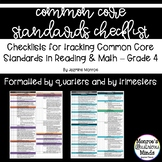 4th Grade Math and Reading Common Core Standards Checklists
