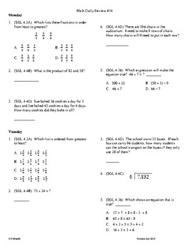 4th Grade Math daily review week 14