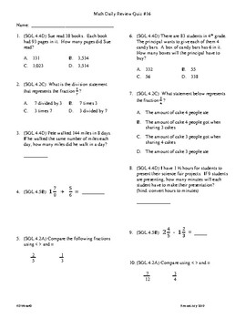 4th Grade Math daily review week 16
