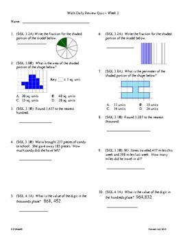 4th Grade Math daily review week 2