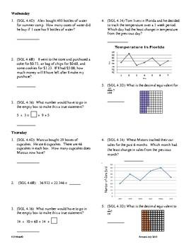 4th Grade Math daily review week 21