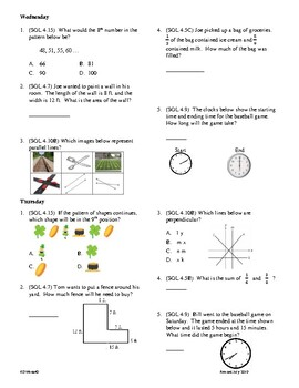 4th Grade Math daily review week 27
