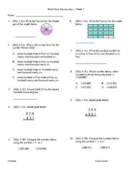 4th Grade Math daily review week 3